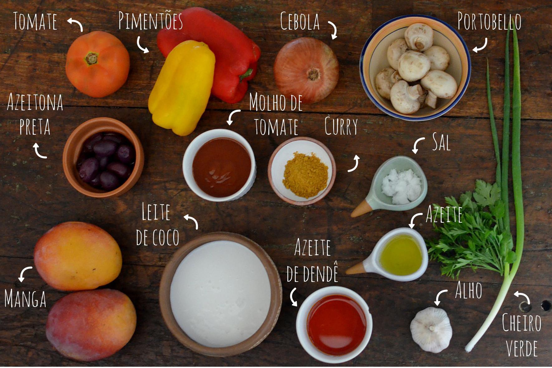 ingredientes moqueca de manga vegetariana