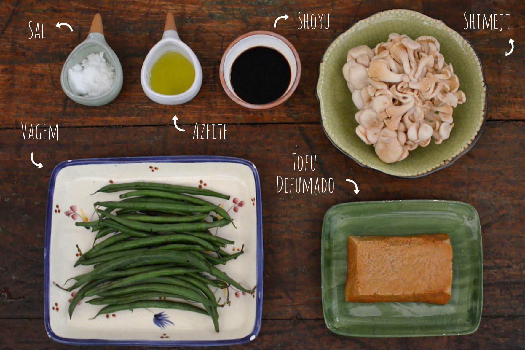 ingredientes receita de shimeji com tofu vegetariano