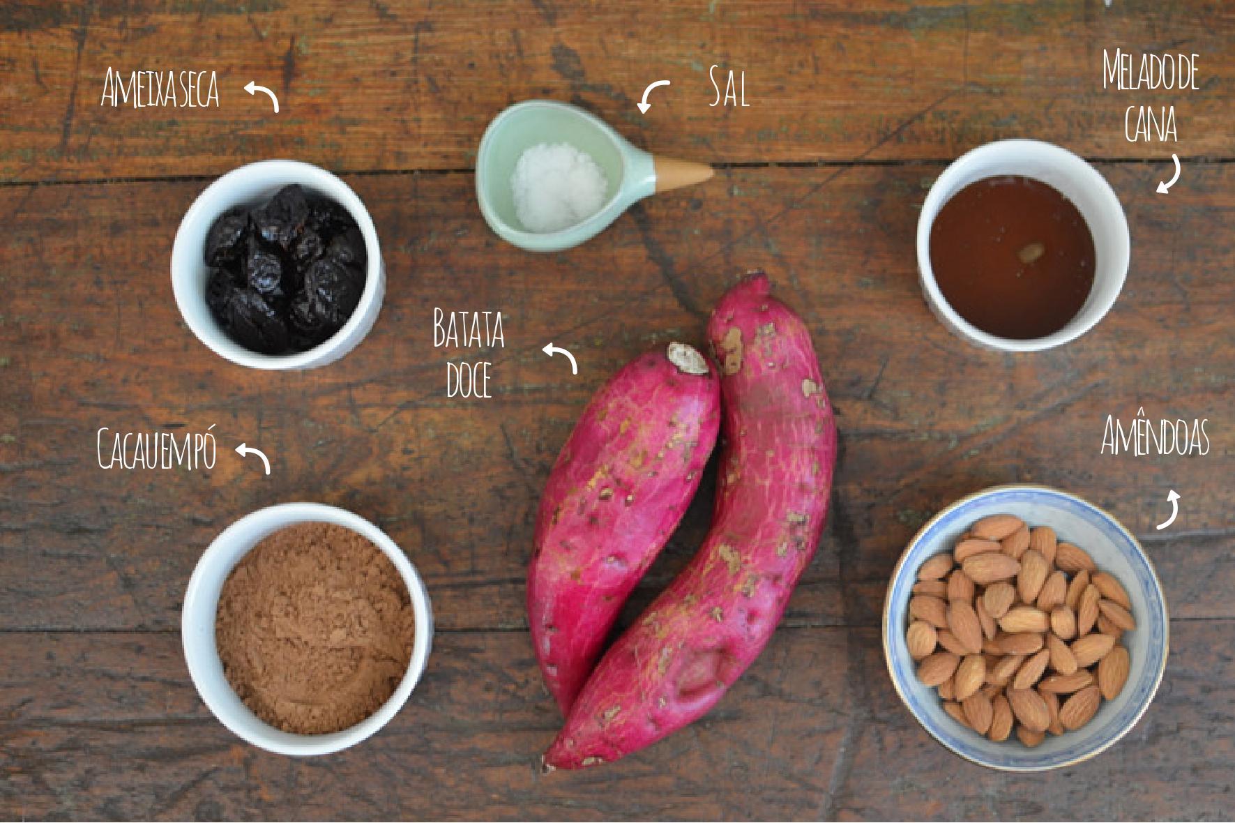 Ingredientes brownie de batata doce