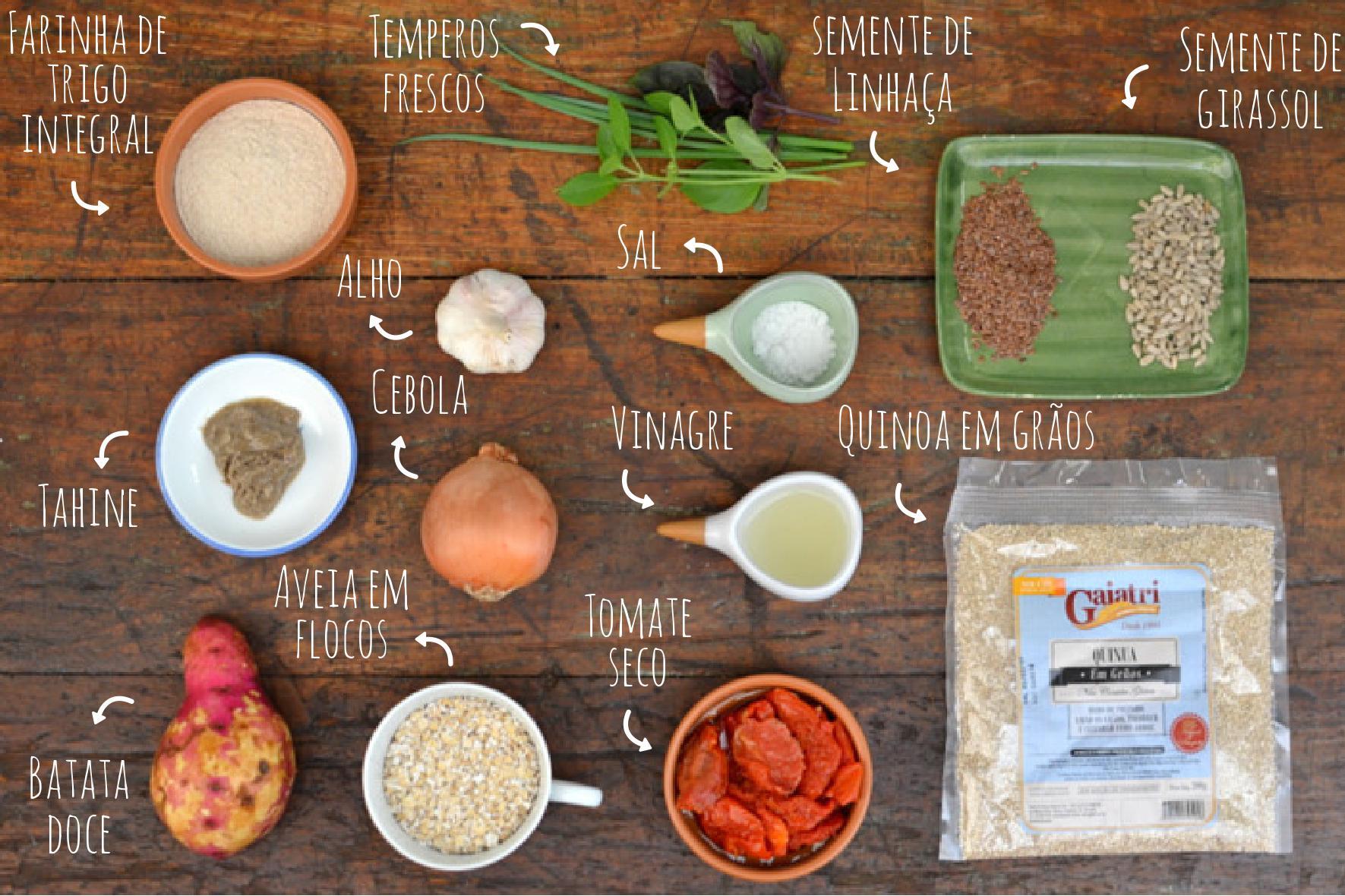 ingredientes hambúrguer funcional de quinua