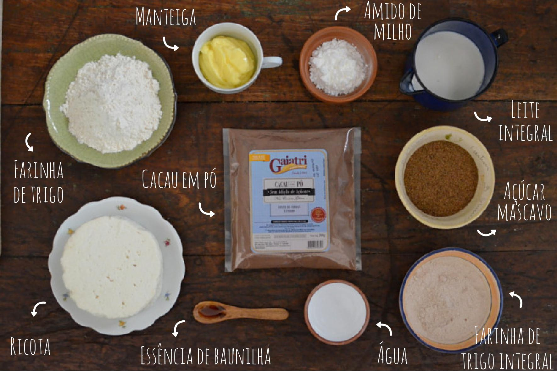 ingredientes torta de ricota com cacau