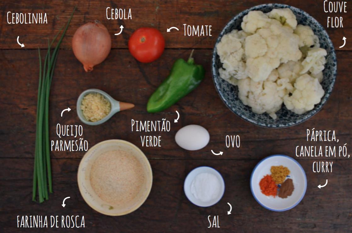 ingredientes bolinho de couve flor