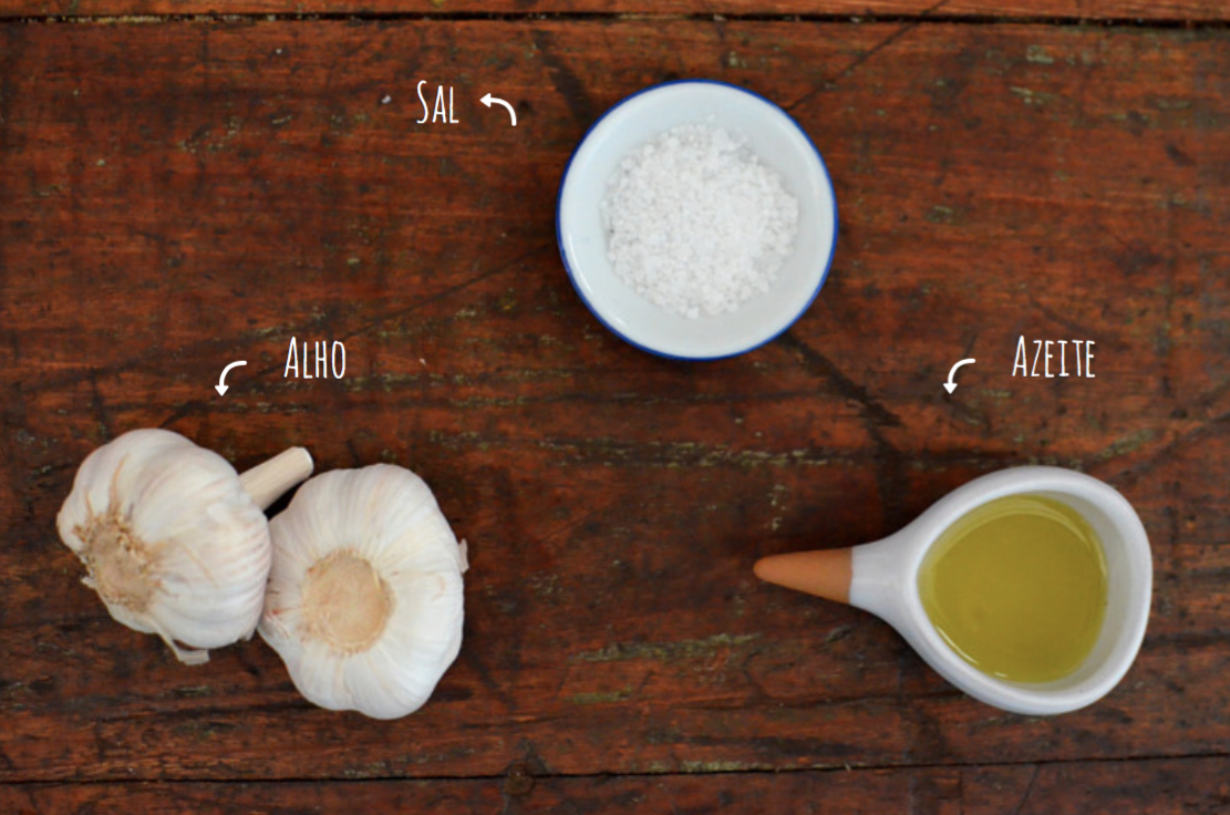 ingredientes alho na brasa