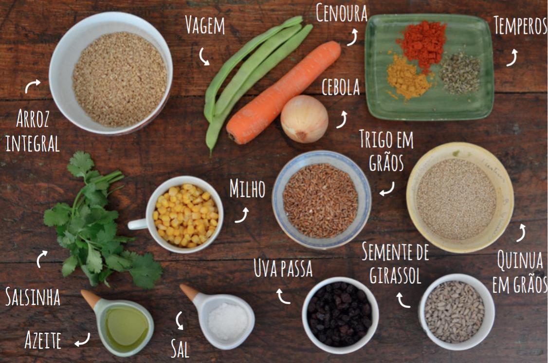 ingredientes salada de grãos