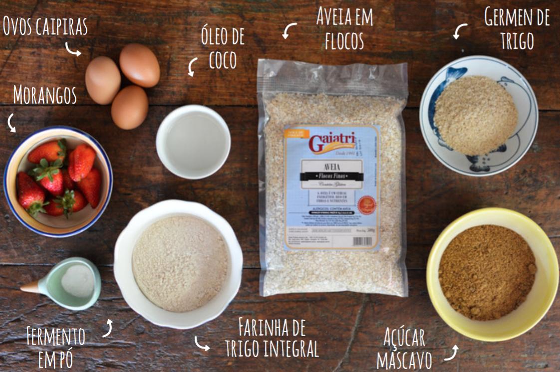receita de muffin integral de morango