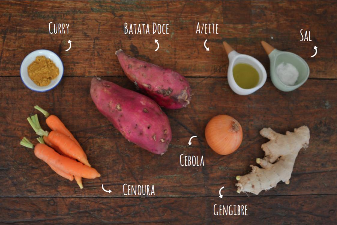 sopa de batata doce com cenoura