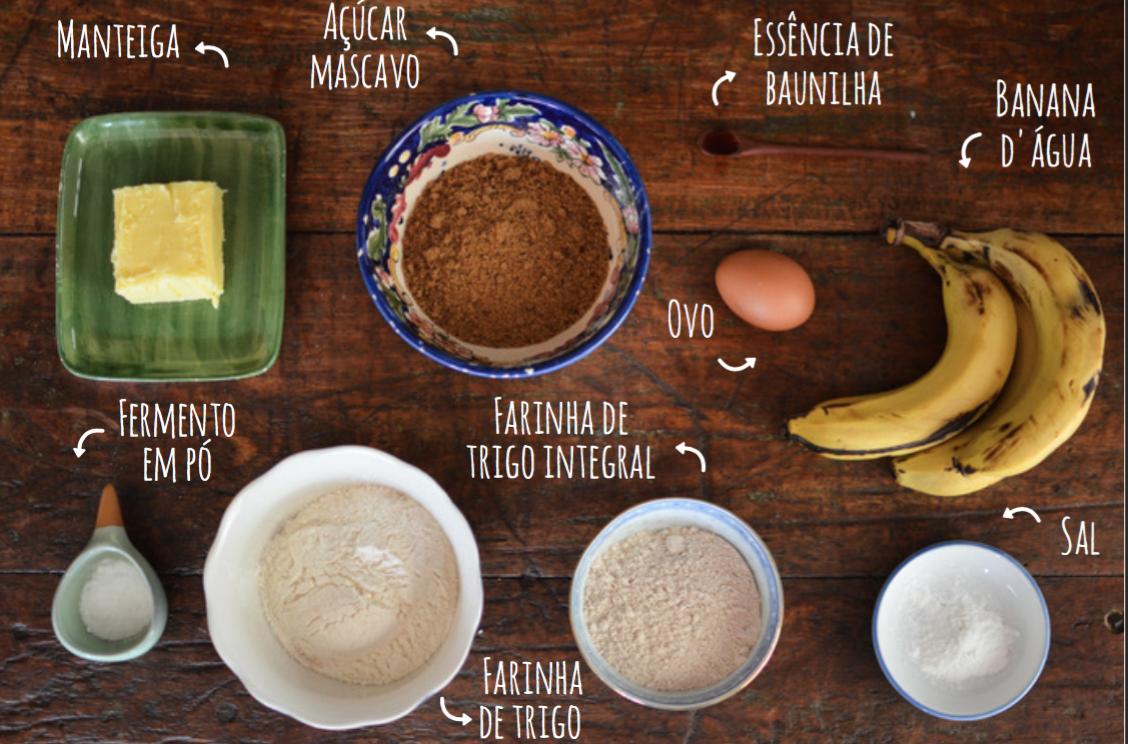 ingredientes bolo de banana