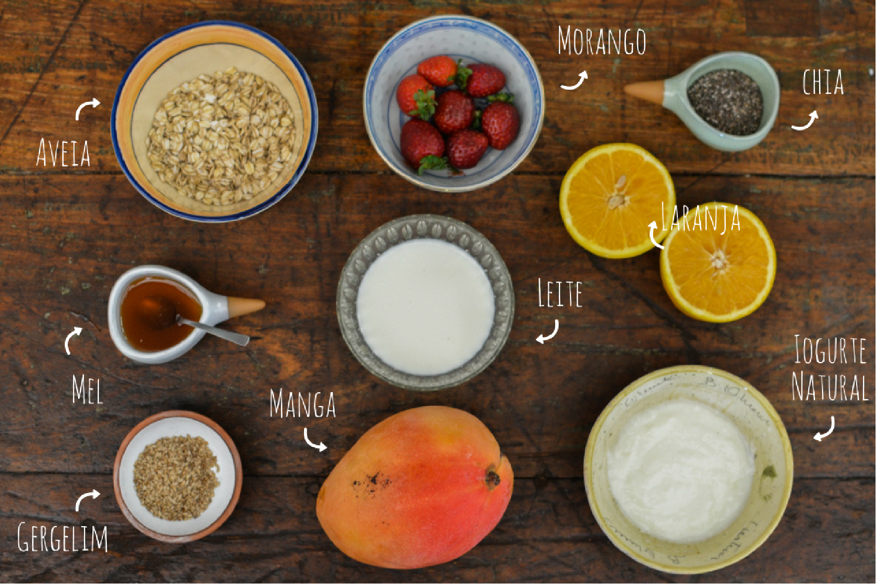 ingredientes overnight com suco de laranja