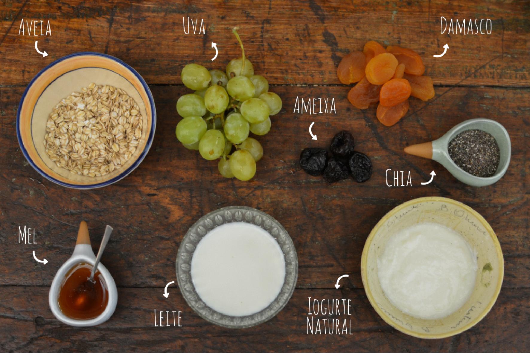 ingredientes overnight de aveia com frutas secas