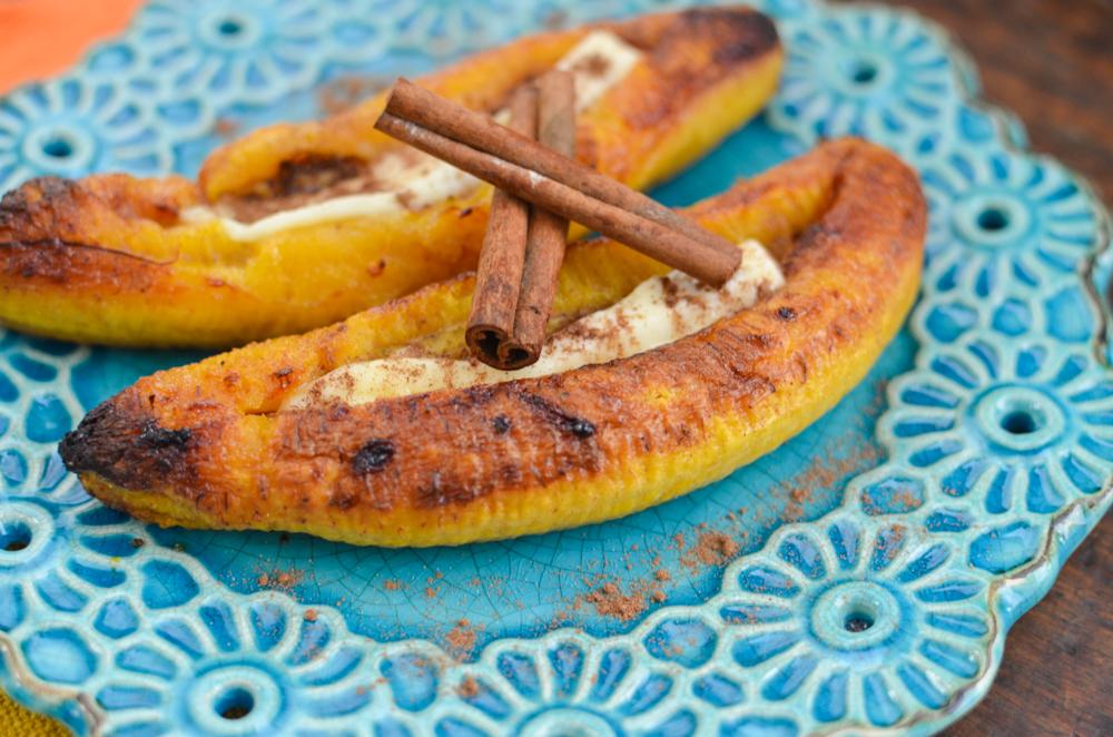 sobremesa banana assada com queijo