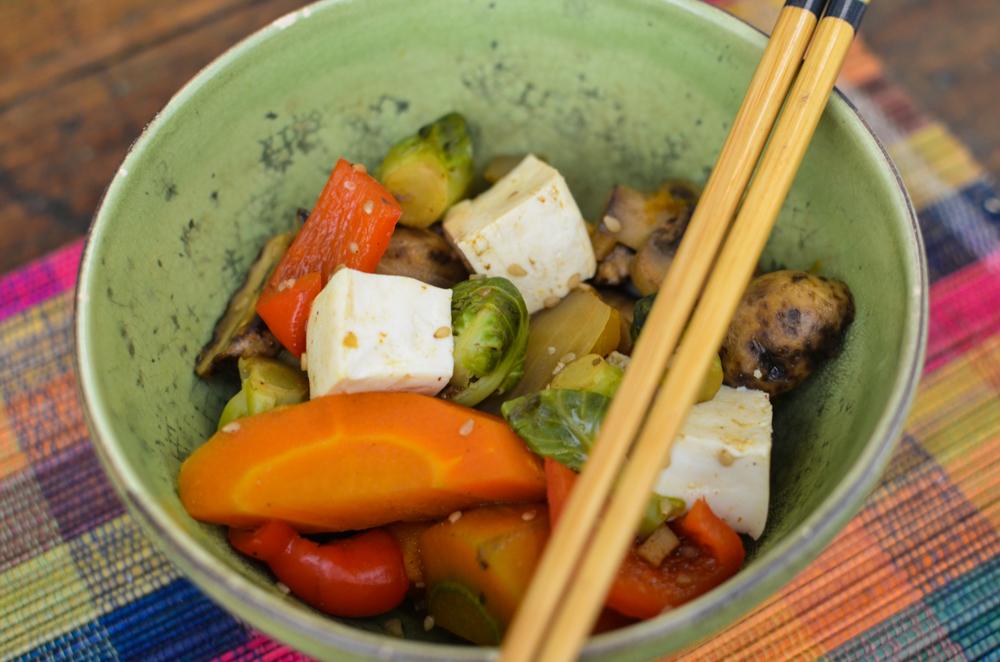 almoço vegetariano legumes e cogumelos