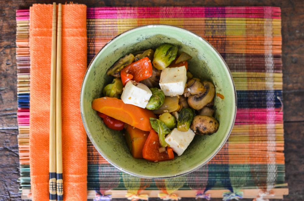 legumes, cogumelos e tofu