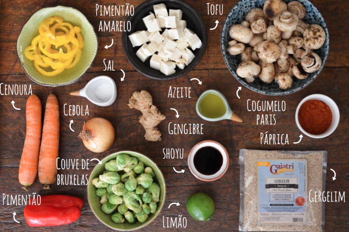ingredientes refogado de cogumelos com legumes