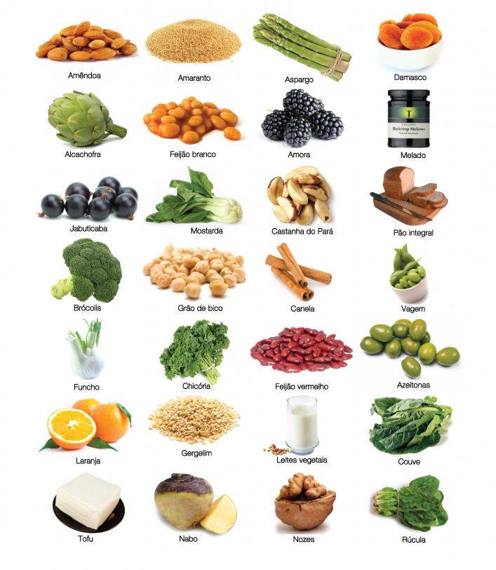 lista de alimentos que possui calcio