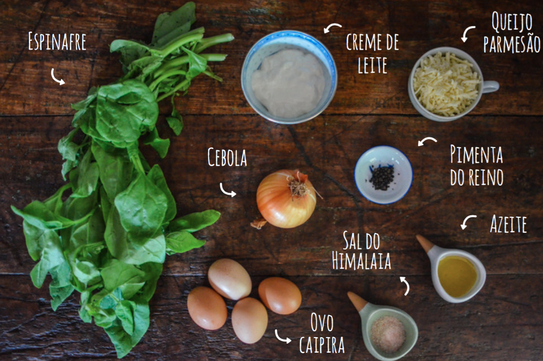 ingredientes mini quiche de espinafre