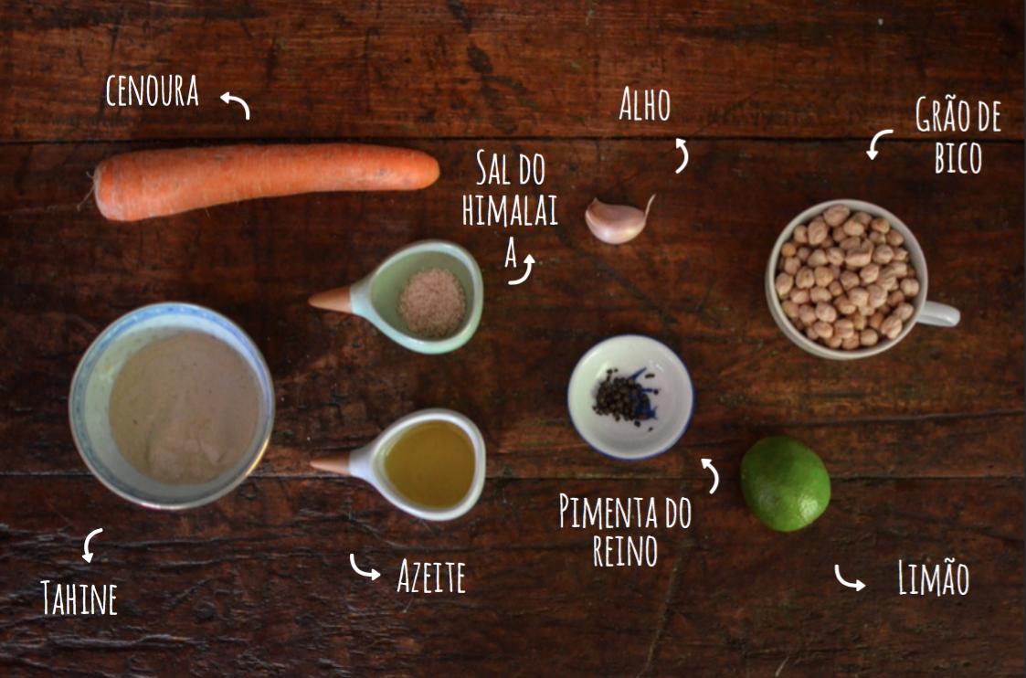 ingredientes hommus de cenoura