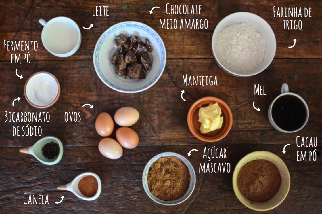 ingredientes pão de mel