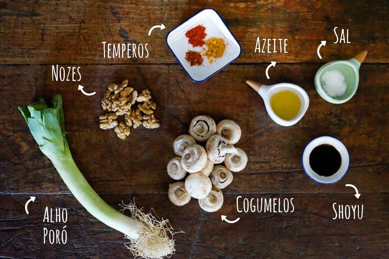 ingredientes refogado de cogumelos