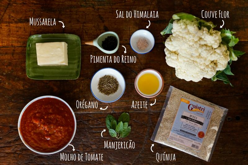 ingredientes couve flor e quínua ao forno