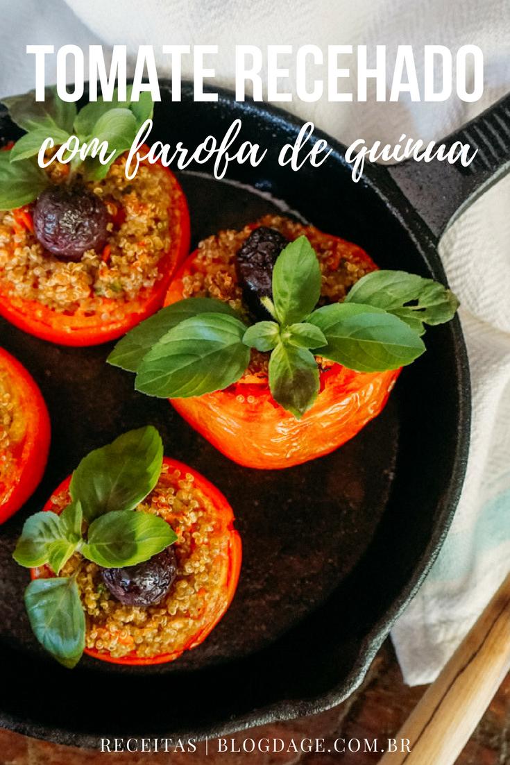Tomate recheado com farofa de quínua