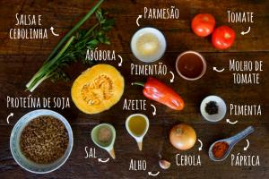 Ingredientes escondidinho de proteína de soja com abóbora