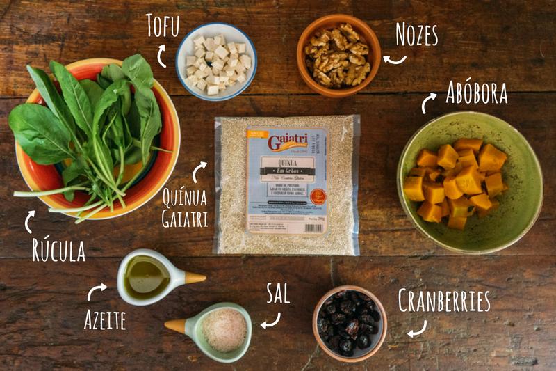 ingredientes salada de quínua com abóbora