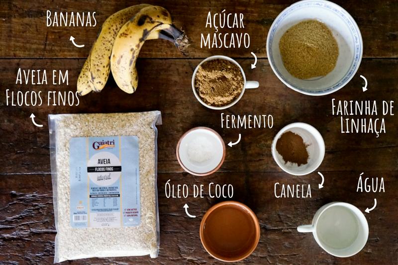 Ingredientes Bolo de Banana Vegano