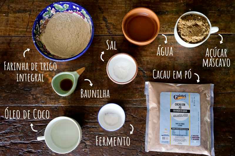 ingredientes cookie de cacau vegano