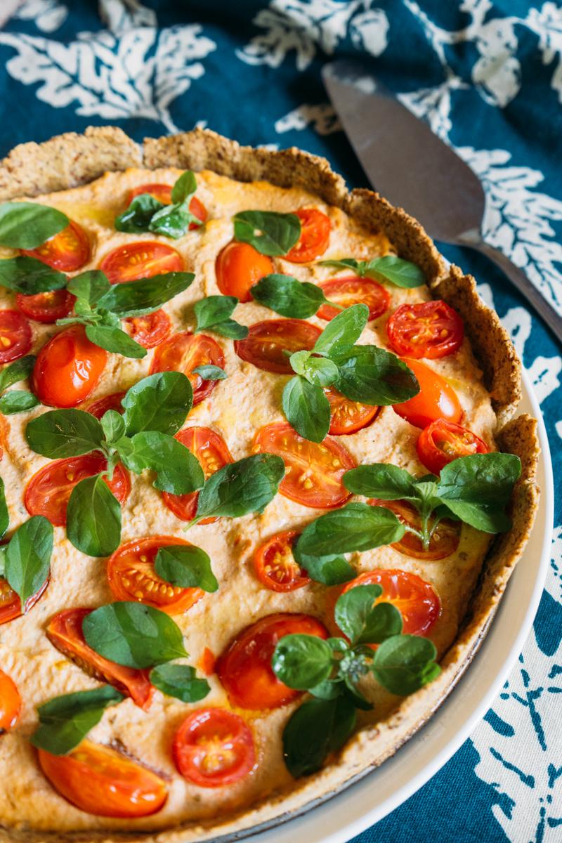 Torta Vegana de Tofu e Tomate