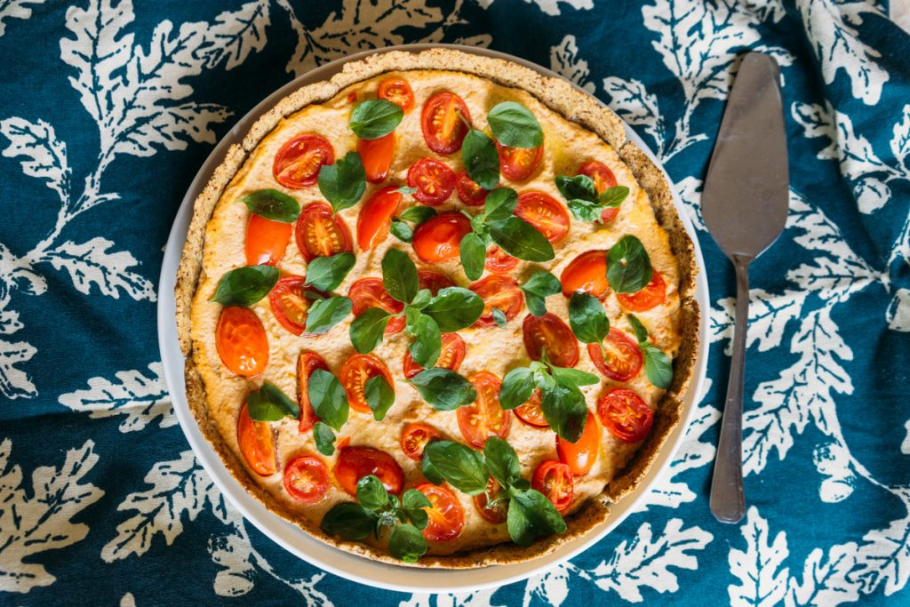Receita: torta vegana de tofu e tomates