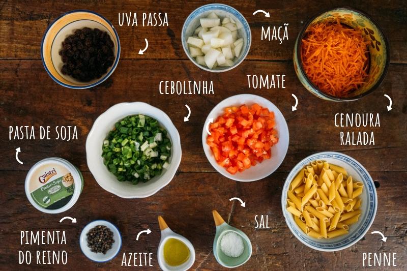 ingredientes salada de macarrão vegana