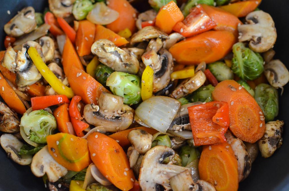 legumes cozidos com cogumelos e tofu